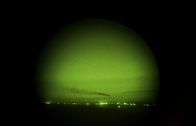 View seen through a night vision device