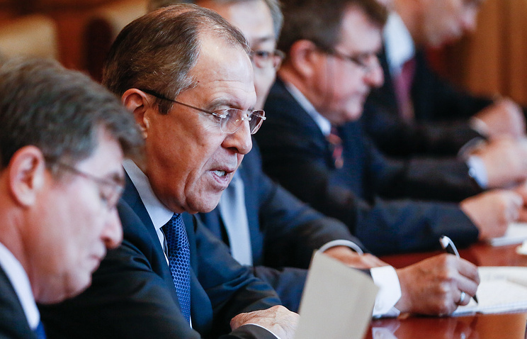 Russia's Foreign Minister Sergey Lavrov seen during his talks with his Mongolian counterpart Lundeg Purevsuren