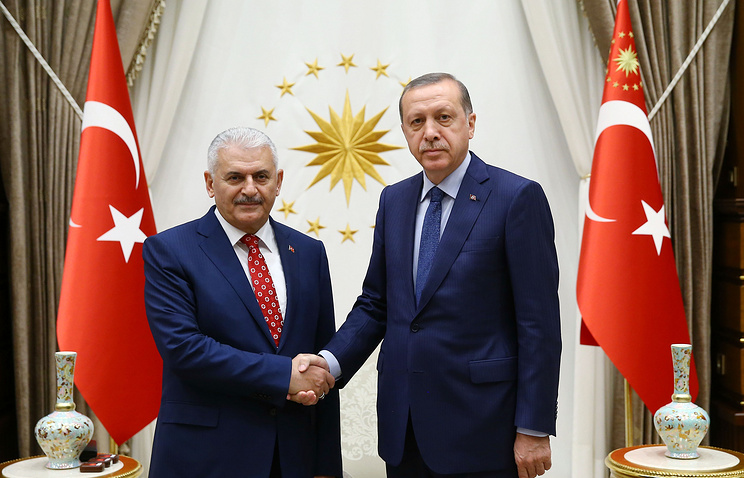 Newly-elected Prime Minister Binali Yildirim and Turkish President Recep Tayyip Erdogan