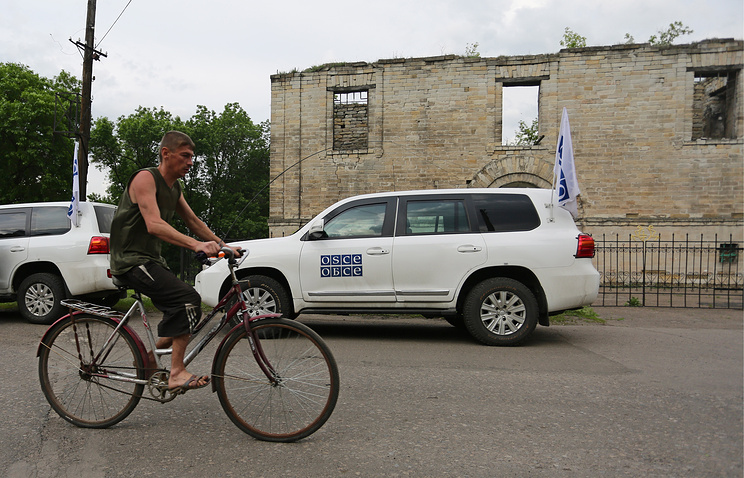 A local resident in on of the Donetsk region's settlements, May 26 2016