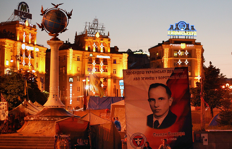 A portrait of Stepan Bandera in Kiev