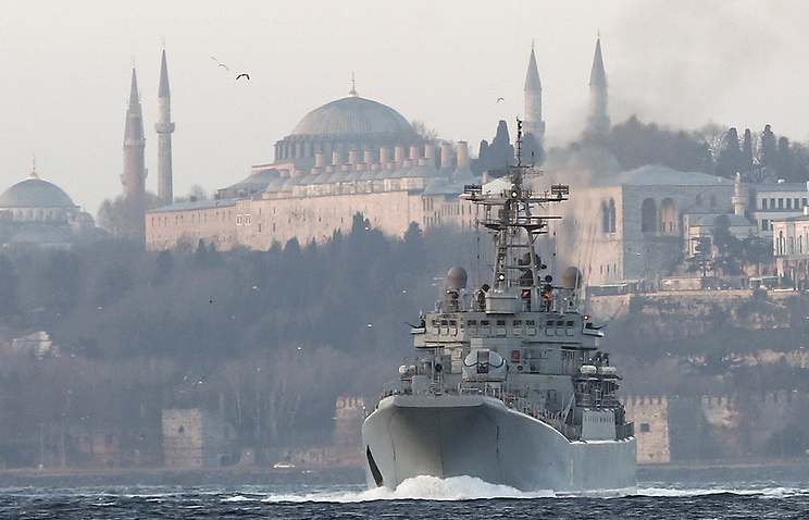A Russian warship passes the Bosphorus Strait in Istanbul