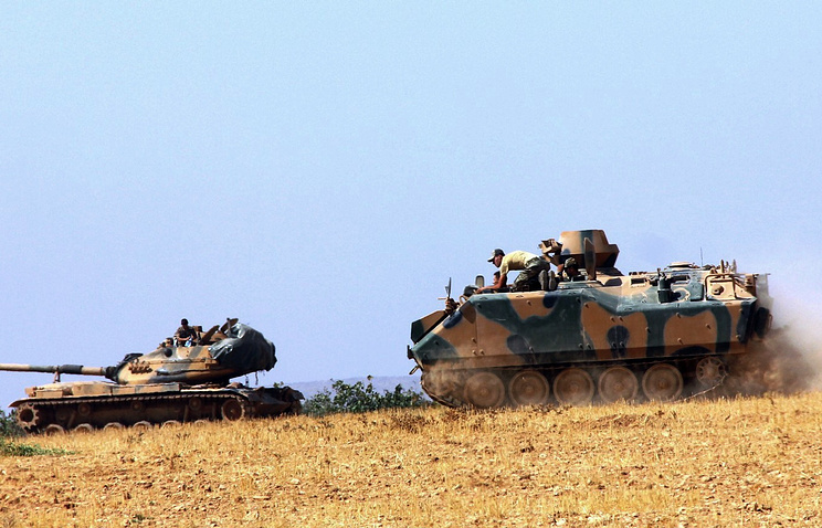 Turkish army tank and an armored vehicle