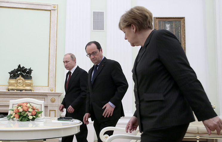 Vladimir Putin, Francois Hollande and Angela Merkel