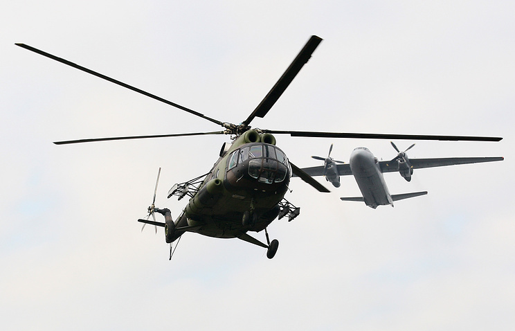 Serbian army helicopter and cargo plane