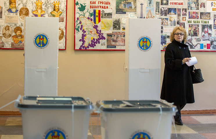 A polling station in the Hrusova village, Moldova
