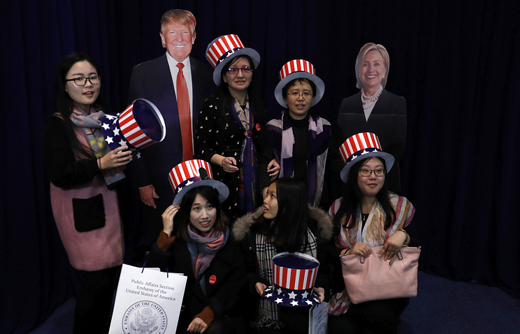 Supporters of the US presidential candidates in US embassy in Beijing