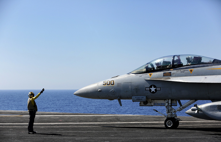 A fighter jet before take off from the US aircraft carrier USS Dwight D. Eisenhower