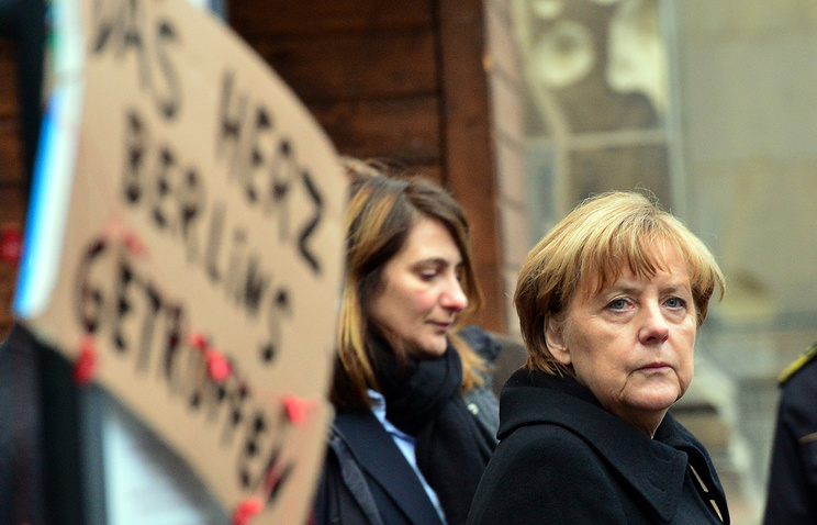 German Chancellor Angela Merkel at the site of the truck attack on a Christmas market in Berlin