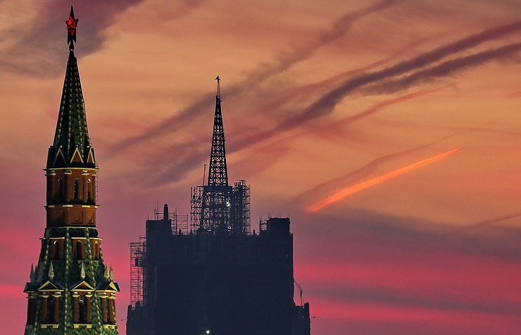 A view of the Russian Foreign Ministry building and a tower of the Moscow Kremlin