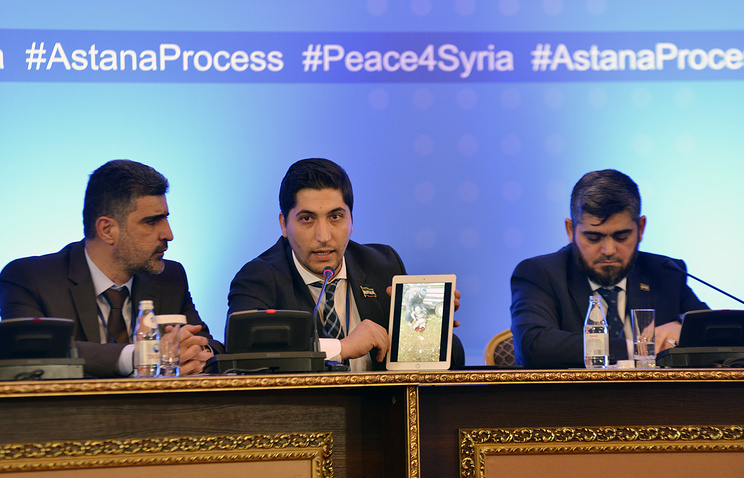 Negotiators for the Syrian rebel side at talks on the Syrian conflict settlement in Astana, Kazakhstan, February 2017