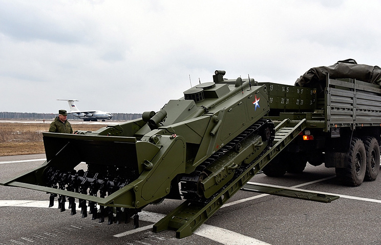An Uran-6 military mine clearing robotic complex