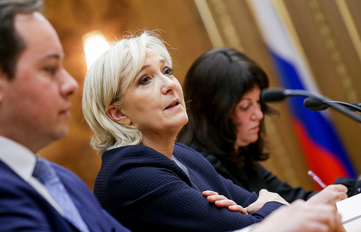 French presidential hopeful Le Pen attends Russian parliament meeting