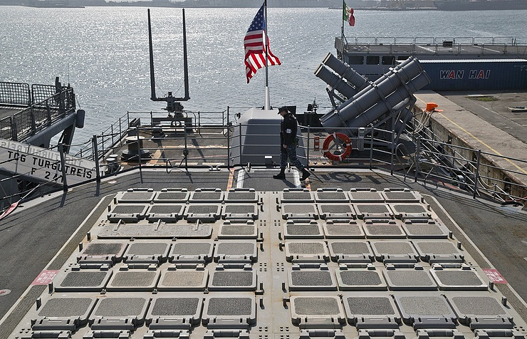 Missile launch pads on the deck of the US ship in the Black Sea port of Constanta, Romania