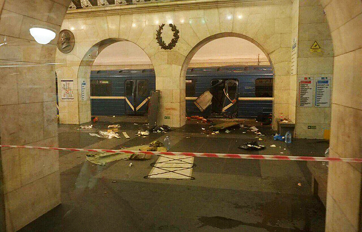 The subway train hit by the now-infamous blast at the Tekhnologichesky Institut subway station in St. Petersburg