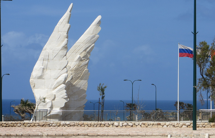 The Victory Monument in Netanya that marks the victory of the Red Army over Nazi Germany in World War II