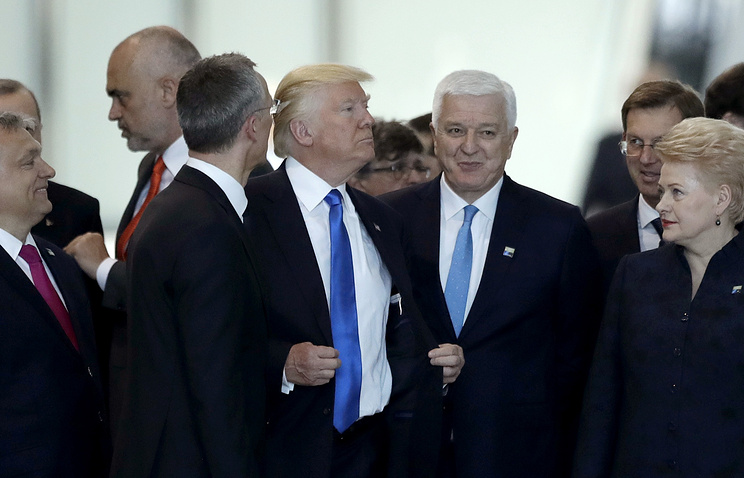 Montenegro Prime Minister Dusko Markovic after appearing to be pushed by US President Donald Trump during a NATO summit in Brussels