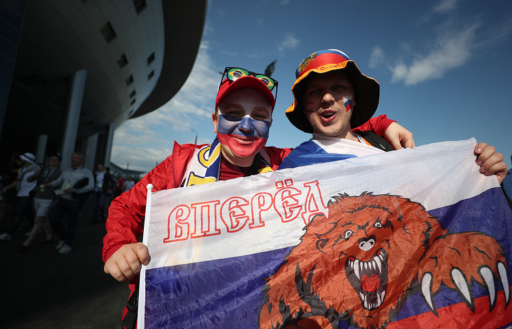 Russian football fans seen outside Saint Petersburg Arena Stadium