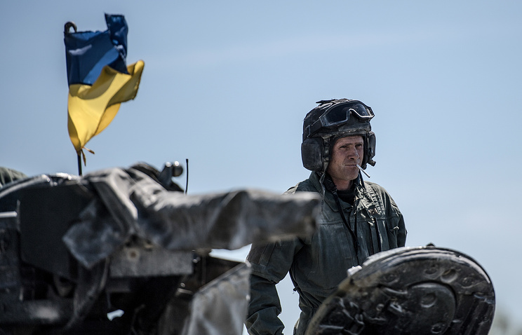 An Ukrainian soldier taking part in NATO military drills at the training area in Grafenwoehr, Germany