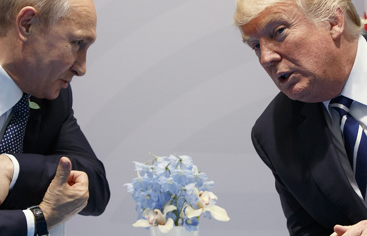 Russian President Vladimir Putin and US President Donald Trump at the G20 Summit, July 7, 2017