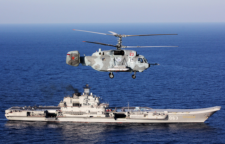 November 24, 2016 is a Kamov Ka 52 helicopter over Russia's Admiral Kuznetsov aircraft carrier in the Mediterranean Sea, A Russian task force consisting of Northern Fleet and Black Sea Fleet warships and more than 40 aircraft were involved in an anti-terrorist combat mission in Syria in the autumn and winter of the year 2016.