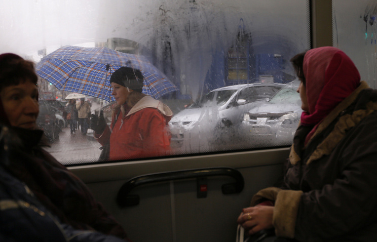 Women in the bus in Kiev, Ukraine