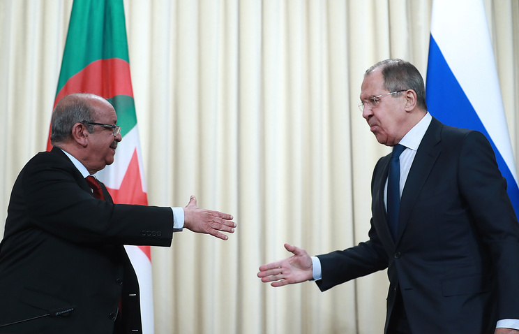 Algerian and Russian Foreign Ministers, Abdelkader Massahel and Sergey Lavrov