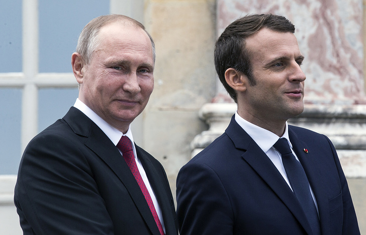 Russian President Vladimir Putin and French President Emmanuel Macron, May 29, 2017