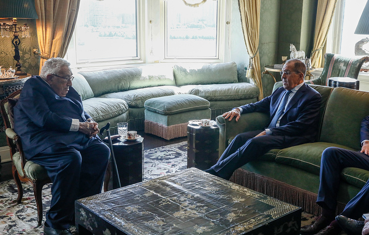 Former US Secretary of State Henry Kissinger and Russian Foreign Minister Sergei Lavrov during a meeting at the 73rd session of the UN General Assembly