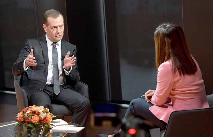 Russia's Prime Minister Dmitry Medvedev seen during an interview to the Euronews TV channel