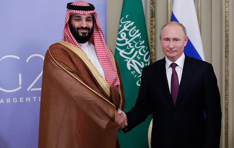 Crown Prince of Saudi Arabia Mohammed bin Salman and Russian President Vladimir Putin