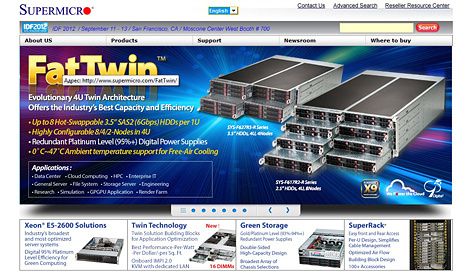 Screenshot www.supermicro.com