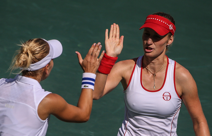 Russian tennis players Ekaterina Makarova and Elena Vesnina