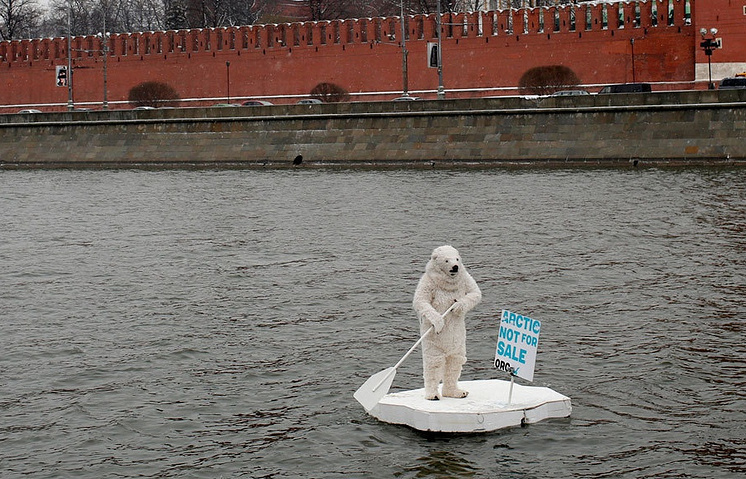 Activist in a polar bear suit near the Kremlin, Moscow, 2013