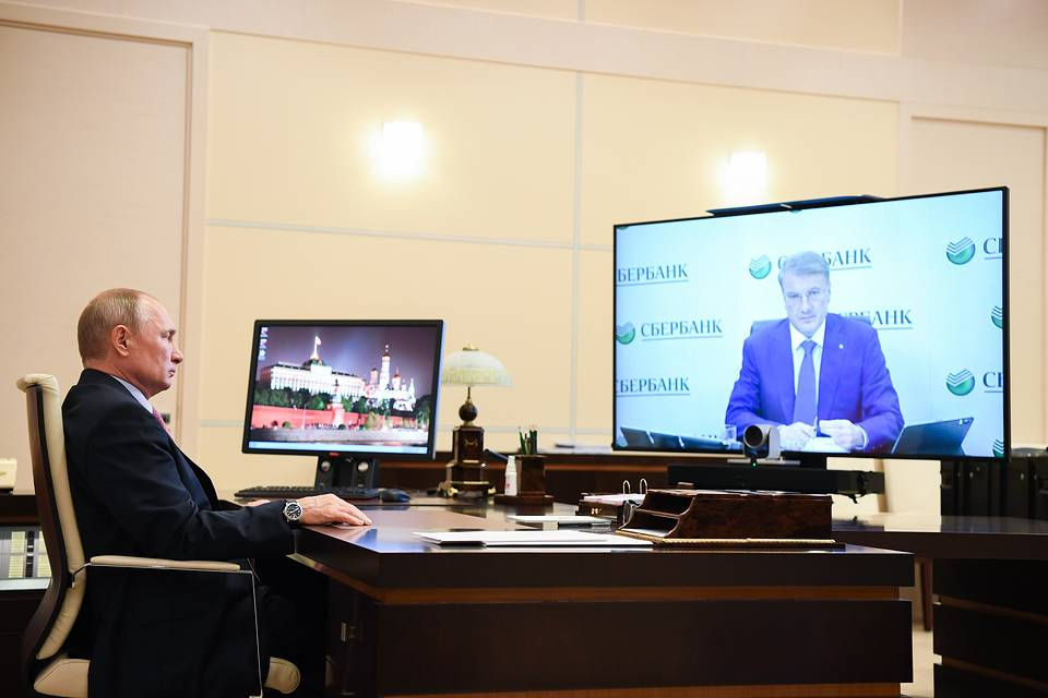 Russia's President Vladimir Putin during a video conference meeting with Sberbank CEO Herman Gref Alexei Nikolsky/Russian Presidential Press and Information Office/TASS