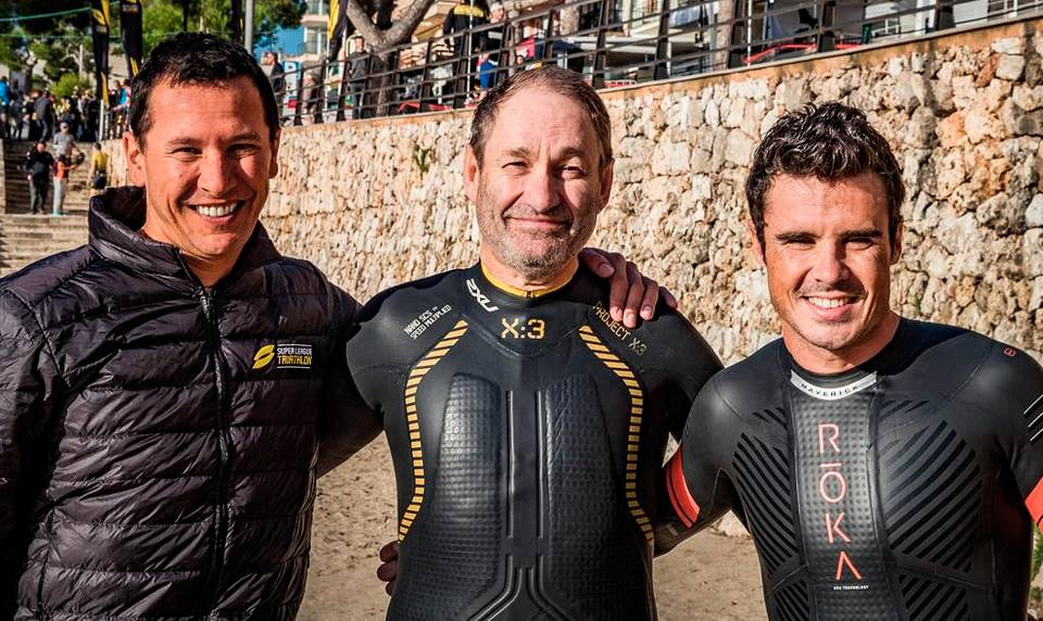 With world triathlon champions Chris McCormack and Javier Gomez Personal archive of Leonid Boguslavsky