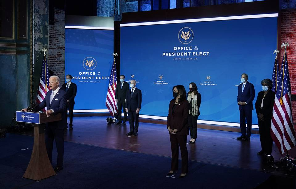 US President-elect Joe Biden and Vice President-elect Kamala Harris introducing their nominees and appointees to key national security and foreign policy posts, November 24, 2020 AP Photo/Carolyn Kaster